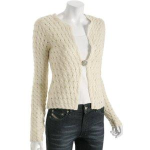 Bluefly - Ascension cream pointelle cashmere brooch cardigan | TEAMSUGAR :  cashmere brooch bluefly ascension